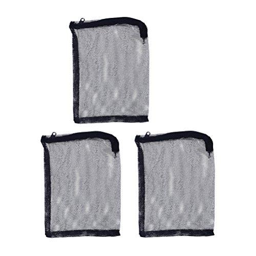 UKCOCO 3pcs Borsa di rete in nylon con cordino, Borsa a filtro per acquario, pesci serbatoio Borsa in Rete Calze per acquario e piscina e giardino, 15* 20cm (nero)