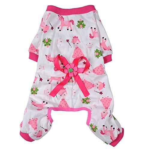 Generic Hunde Welpe Baumwoll Kleidung Weichen Schlafanzug Cartoon Overall Kleidung Haustier - Rosa, XXL