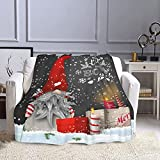 Fleece Throw Blanket, Merry Christmas Gnome Xmas Gifts Winter Snowflakes Plush Throw Blanket for Couch Sofa Bed Women Blanket (50'X40')