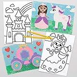 Baker Ross Imágenes Princesa Para Decorar con Arena (paquete de 8) Arte y manualidades para niños