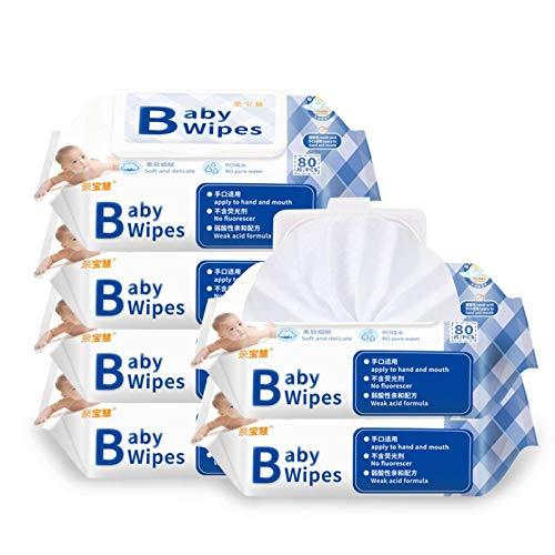 N-B Toallitas húmedas para bebés con Bombeo 80 Toallitas húmedas para Manos y Boca para bebés con Tapa Toallitas húmedas