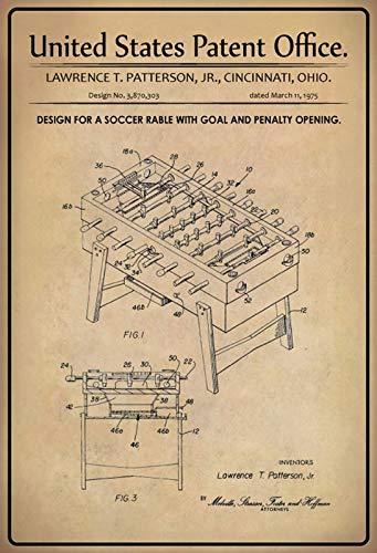 FS Patent ontwerp voetbaltafel-poort patroon metalen bord gebogen metalen teken 20 x 30 cm