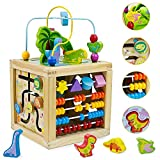 Wooden Activity Cube Center Toys 5 in 1 Dinosaur Wooden Baby Toys with Bead Maze Labyrinth Blocks Sorter Abacus Montessori Toddler Activities Table Educational Learning Toys Gifts for Kids Boys Girls