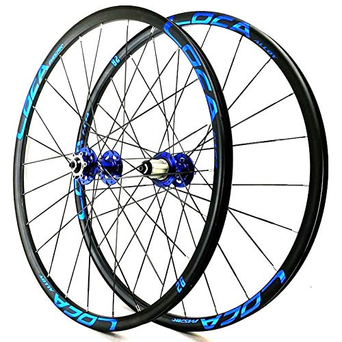 YXYH 26 27.5 Inch Mountain Bike Wheelset Quick Release 6 Nail Disc Brake 6 Claw Double Wall Cycling Wheel Set for 7 8 9 10 11 12 Cassette Flywheel (Color : Blue Hub Blue Logo, Size : 26inch)