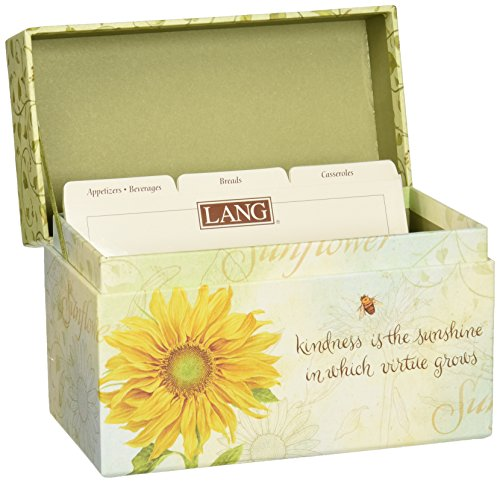 "LANG - Recipe Card Box - ""Virtue Grows"" - Artwork by Jane Shasky - Easel Style Cover - 12 Coordinating,  4 x 5 Recipe Cards w Dividers -  6.75"" x 5"" x 3.75"""