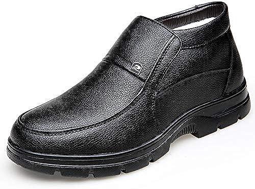 LOVDRAM Chaussures en Cuir pour Hommes Hiver Chaussures en Coton pour Hommes