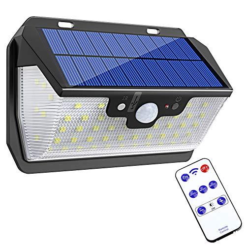 Bovon Luz Solar, 55 LED Foco Solar con Sensor de Movimiento, Luces Solares Exterior con Control Remoto y Carga USB, Lámparas Solares Impermeable para Jardín, Patio, Terraza, Garaje, Camino