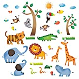 Decowall DW-1206 Animaux Jungle Sauvages Autocollants Muraux Mural Stickers Chambre...