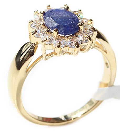 Ah! Jewellery Gold Filled Genuine Precious 1.45ct SAPPHIRE Gemstone Surrounded By Small Brilliant Clear Rounds Ring. UK Guarantee 3µ, Stamped GL. Solitaire Setting.