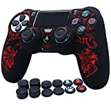 RALAN 1 Piece of Silicone Laser Carving Protective Cover Skin + 8 Thumb Grips & 4 Paw Grips Caps for PS4/Slim/Pro Controller . (Red)