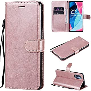 SDDLRM Leather Case For OPPO Reno4 Pro 5G Leather Case, Premium PU Leather Wallet Case, Shockproof Folio Stand Case with M...