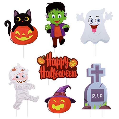 Yardwe Hofschilder für Halloween-Requisiten 7-Teilige Halloween-Hofpfahlschilderdekoration mit 11 Bodenpfählen Halloween-Dekorationen für Hof/Rasen