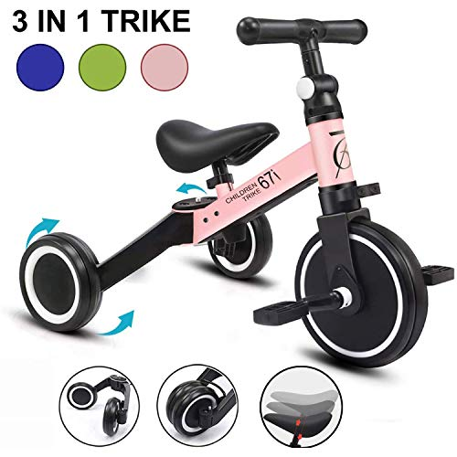 67i Tricycles for 2 Year Olds Toddler Tricycle 3 in 1 Tricycles Kids Trikes for Toddler Bike 3 Wheel Convert 2 Wheel with Removable Pedal and...
