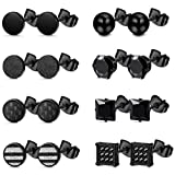 Florideco 8 Pairs Stainless Steel Black Stud Earrings for Men Women Round Ball Cubic Zirconia Stud Earring Black Carbon Fiber Earrings Set 6mm