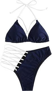 MUMUBRAL Women's 2PCS Bikini Bathing Suits Sexy Halter Ladder Cutout Swimsuits