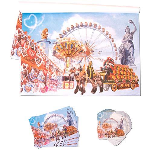 Alpenflüstern Tisch-Deko Set Oktoberfest - je 25 Stück Tischsets, Bierdeckel & Einladungskarten - für bayerische Tisch-Dekoration zur Wiesn Dahoam TIS011