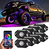 Rgb Rock Lights,8 Pods Underglow Lights with App Control,Timing,Music Mode,Flashing Multicolor 4 Wheels Neon Lights for Truck Suv Atv Off Road