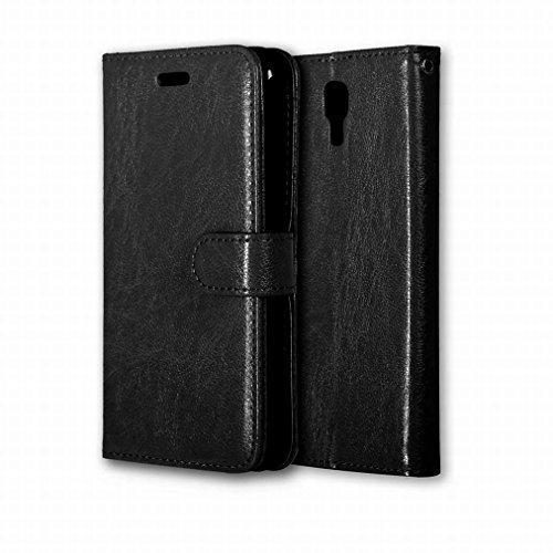 Ougger Handyhülle für LG X Screen / K500N Hülle Tasche, Beutel Tasche Bumper Schale Schutzhülle PU Leder Weich Magnetisch Stehen Silikon Haut Flip Case Cover mit Kartenslot Farbe Schwarz