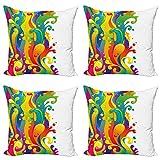 ABAKUHAUS Psicodélico Set de 4 Fundas para Cojín, Rainbow Splash, Estampado Digital en Ambos Lados y Cremallera, 60 cm x 60 cm, Multicolor