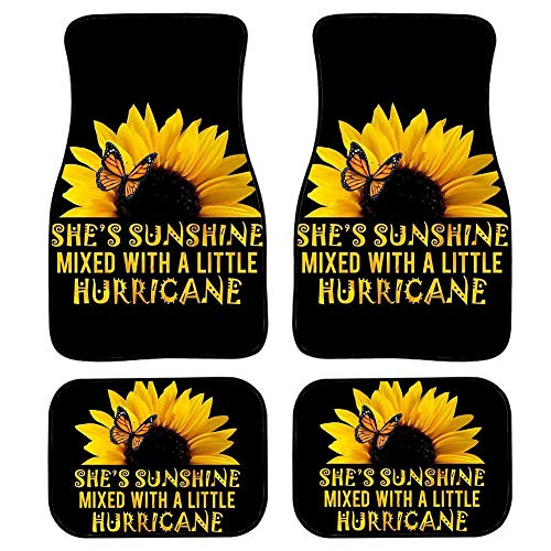 NETILGEN Sunflower Floor Mats for Cars, She's Sunshine Automotive Heavy Duty Floor Mats, Anti-Slip Rubber Floor Mats, Set of 4 Car Floor Carpets Full Set, Universal Floor Mats for Auto