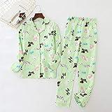 XFLOWR Conjuntos de Pijamas Mujeres Kawaii Pijamas de Dibujos Animados 100% Algodón Cepillado Mujer Lindo Traje de Noche Manga Larga Ropa de Dormir Big Yard L