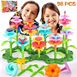 SAVITA 98 pcs Girl Gifts Flower Stem Garden Building Toys Bouquet Sets Play Tool Birthday for Kids Girl Age 3,4,5,6 Year Old