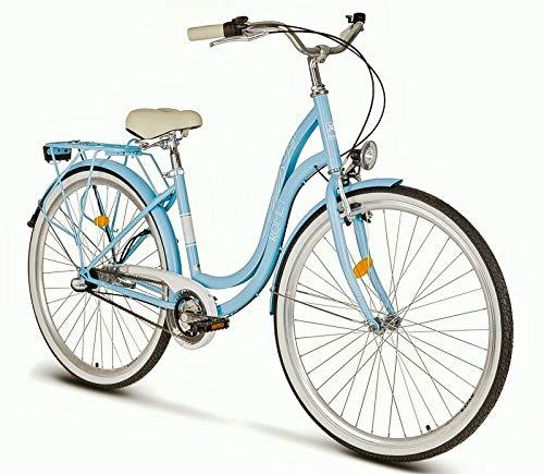 breluxx® 26 Zoll Schulfahrrad Damenfahrrad Angel, Rücktrittbremse, Nexus 3 Gang Nabenschaltung, Dynamo + Beleuchtung, Retro Bike, hellblau - Made in EU