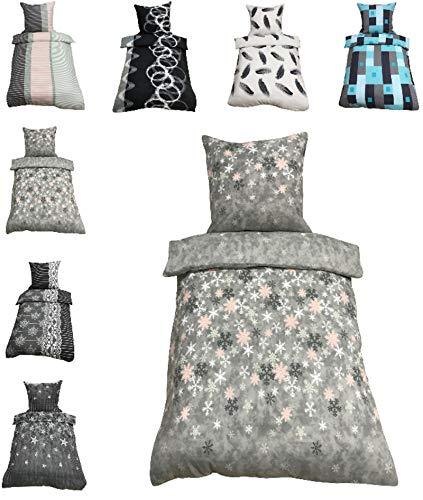 Leonado-Vicenti Thermofleece Bettwäsche 2 TLG / 4 TLG / 3 TLG Flausch Winter Garnitur Bettbezüge, Maße:4 teilig 135x200 cm, Farbe:Kristall grau