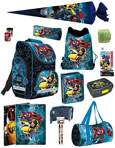 Familando Transformers PL Schulranzen-Set 14-TLG. mit Federmappe, Turnbeutel, Brotzeit-Dose, Sporttasche, Schultüte 70cm und Regenschutz Blau