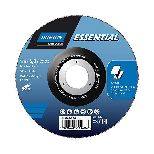 Norton Essential METALL 125x6,0x22,23 Schruppscheibe Typ 27, gekröpft für Winkelschleifer