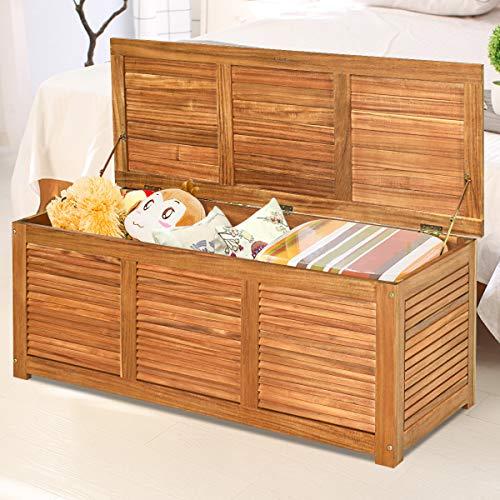 COSTWAY Gartenbox Akazienholz Massiv Gartenbank Auflagenbox Kissenbox Gartentruhe Aufbewahrungsbox für Garten und Hinterhof 120x45x45cm - 4