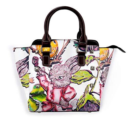 Smock Rabbit And Fruit Rivet Shoulder Bag For Women Pu Leather Tote Purses Lightweight Zipper Handbag Vintage Top Handle Satchel Bags