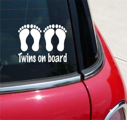 myrockshirt Adhesivo Twins on Board 4 pies 17 cm Auto Adhesivo Barniz Luna Trasera Baby Bord de Alto Rendimiento Pantalla sin Fondo Calidad Profesional Muchos Colores a Elegir Fabricado en Alemania