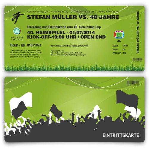 Einladungskarten (50 Stück) zum Geburtstag als Fussballticket Fussball Einladung