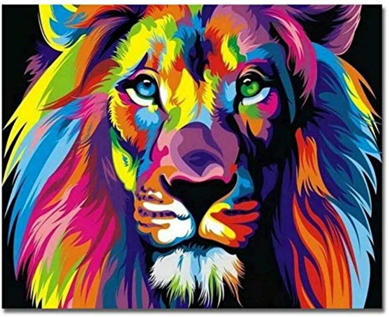 Agolong Regenbogen Zebra Bilder Nach Zahlen DIY Handgemalte Tierölgemälde Löwe Färbung Nach Zahlen Auf Leinwand Für Wohnkultur Mit Rahmen 40x50cm B07NRP3XFF | Elegante Form
