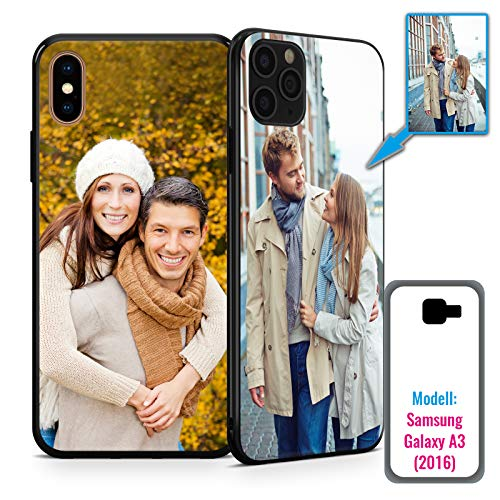 PixiPrints Foto-Handyhülle mit eigenem Bild kompatibel mit Samsung Galaxy A3 (2016), Hülle: TPU-Silikon in Schwarz, personalisiertes Premium-Case selbst gestalten mit flexiblem Druck