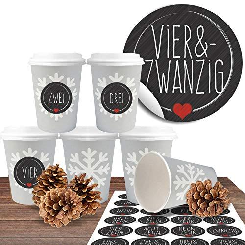 """Adventskalender zum befüllen und basteln mit 24 Coffee-to-Go-Bechern (100% biologisch abbaubar) """"Schneeflocke"""" inkl. 24 Zahlenaufkleber """"Schick und Schwarz"""""""