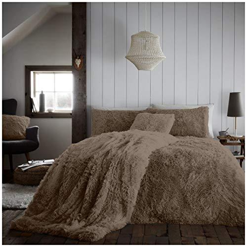 Premium Quality Teddy Sherpa Fleece Hugg & Snug Duvet Cover Set, Super Soft & Warm Quilt Set , King Size Bedding, Mink