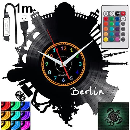 Berlin - Reloj de pared LED RGB con mando a distancia, diseño de piloto