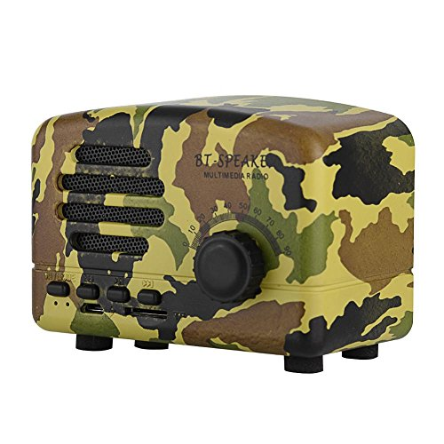 Dpofirs Altavoz Bluetooth Retro portátil, bajo de Radio FM de Escritorio de Madera, Compatible con micrófono estéreo/Tarjeta de Memoria USB, para teléfonos Inteligentes/hogar/Exteriores(2)