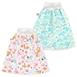Waterproof Diaper Skirt for bed wetting 2 Packs Cotton Diaper Shorts for Baby Boy and Girl Night Time Potty Training Pink