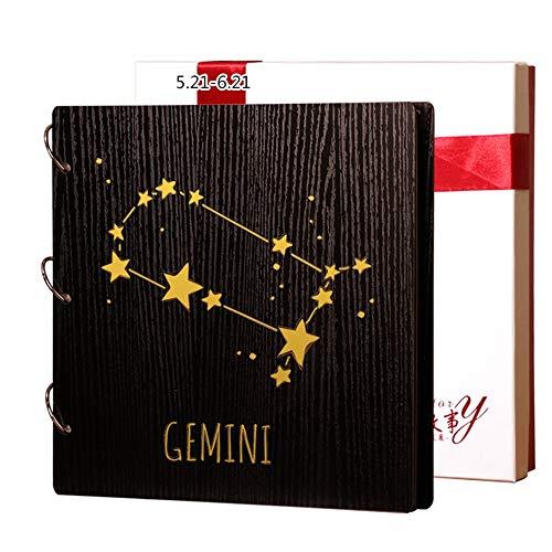 Álbum de Fotos, constelación de impresión en Madera. Álbum Simple. Pareja romántica. Libro conmemorativo. Creativo. Marcos de Cuadros (Color : Gemini)