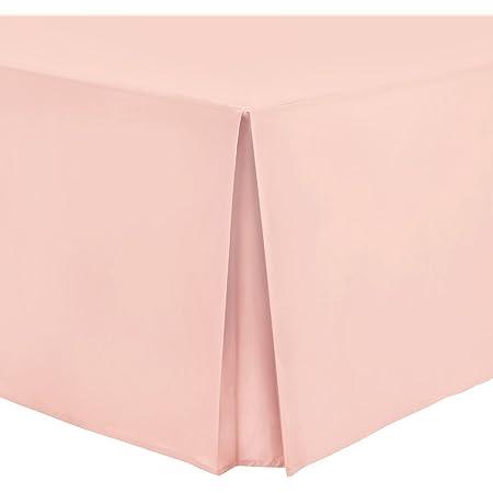 Hometexstyle – Faldón cubresomier 100 % algodón de percal, 100% algodón, Blush, matrimonio grande