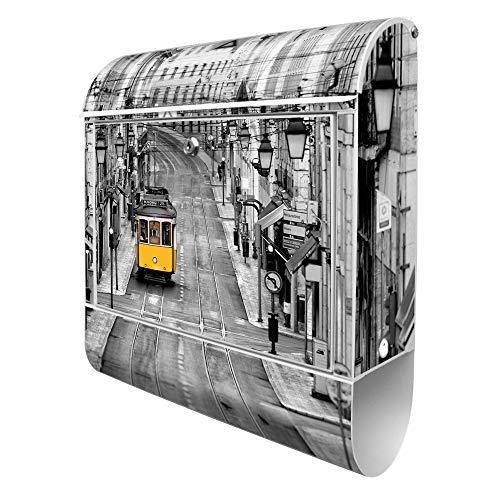 Banjado Design Briefkasten mit Motiv Lissabon | Stahl pulverbeschichtet mit Zeitungsrolle | Größe 39x47x14cm, 2 Schlüssel, A4 Einwurf, inkl. Montagematerial
