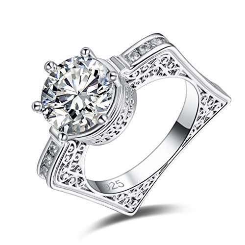 Ai.Moichien Anillo de Firma de Plata 925 para Mujer Anillo de Diamante Artificial Anillo de Compromiso de Boda US:Talla 7