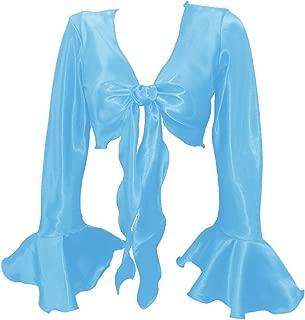 Women's Satin Ruffle Sleeve Tie Top Choli Blouse Belly Dance Gypsy