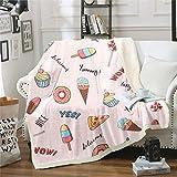 Manta de felpa para niñas con diseño de donuts, manta de forro polar para sofá, habitación, decoración de magdalenas,...