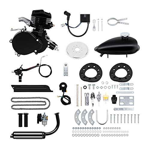 """Ambienceo 26"""" 28"""" Black 2 Stroke 50cc 80cc Cycle Bicycle Gas Motorized Gasoline Engine Motor Kit CDI Air Cooling For Mountain and Road Bike (80cc, Black)"""