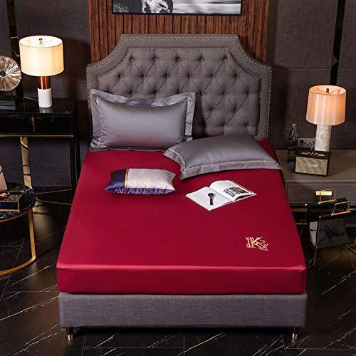 LCFCYY SábanaEncimeraAjustable,Sábanas de algodón Suaves y cómodas,sábana de Cama Antideslizante con Bordado de Color sólido para Dormitorio,Hotel,hogar F 180 * 200cm
