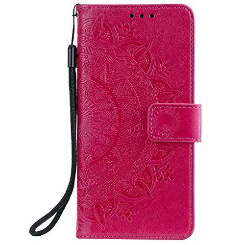 Lomogo Xiaomi Redmi Note 9 / 10X 4G Hülle Leder, Schutzhülle Brieftasche mit Kartenfach Klappbar Magnetisch Stoßfest Handyhülle Case für Xiaomi Redmi Note9/10X 4G - LOHHA080891 Rot